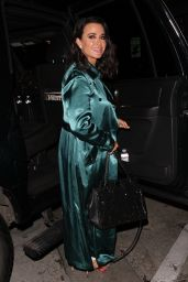Kyle Richards in a Green Trench Coat and White Jeans at Craig