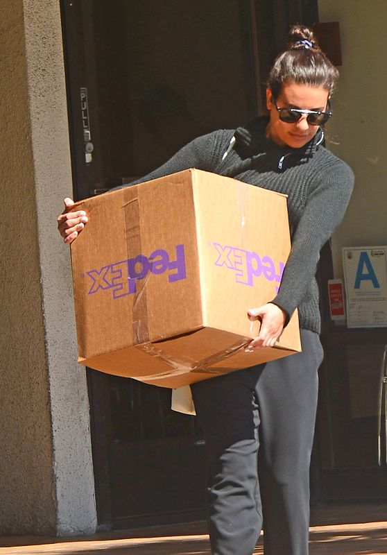 Lea Michele - Picking Up a Package From FedEx in LA 03/26/2018