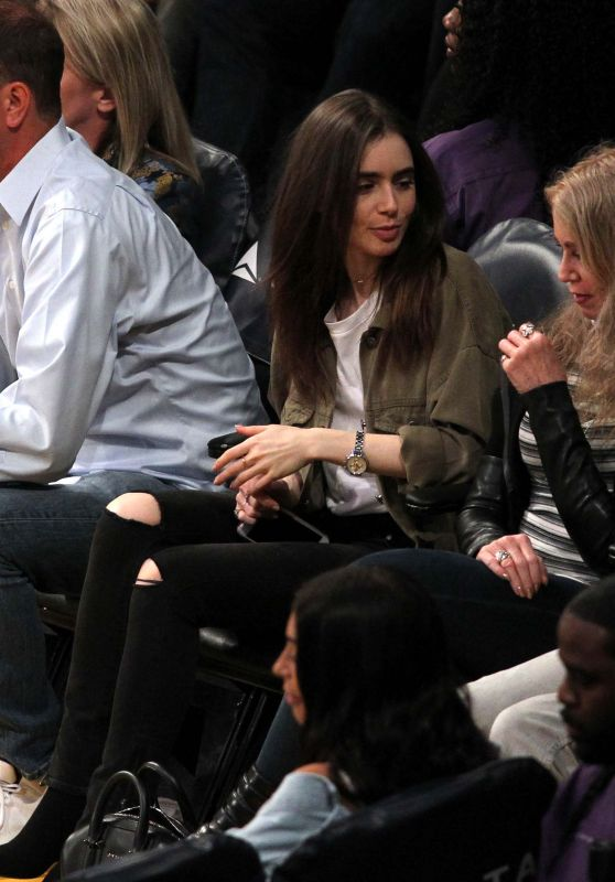 Lily Collins at the Lakers Game in Los Angeles 03/28/2018