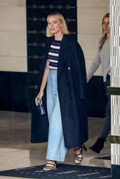 Margot Robbie Wears a Long Blue Coat and Baggy Jeans - West Hollywood 03/13/2018