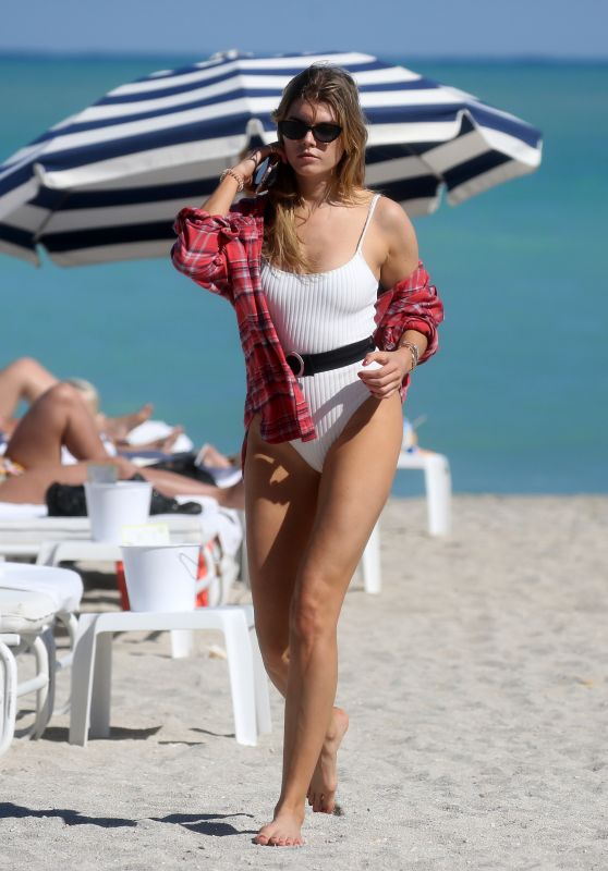 Maryna Linchuk in Bikini on the Beach in Miami 03/09/2018