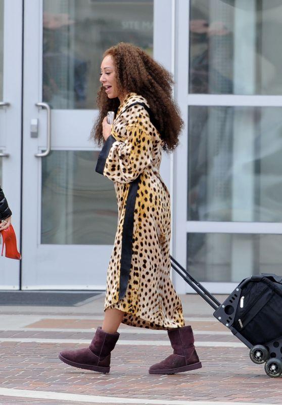 Melanie Brown in a Leopard Print Robe - Pasadena, CA 03/07/2018