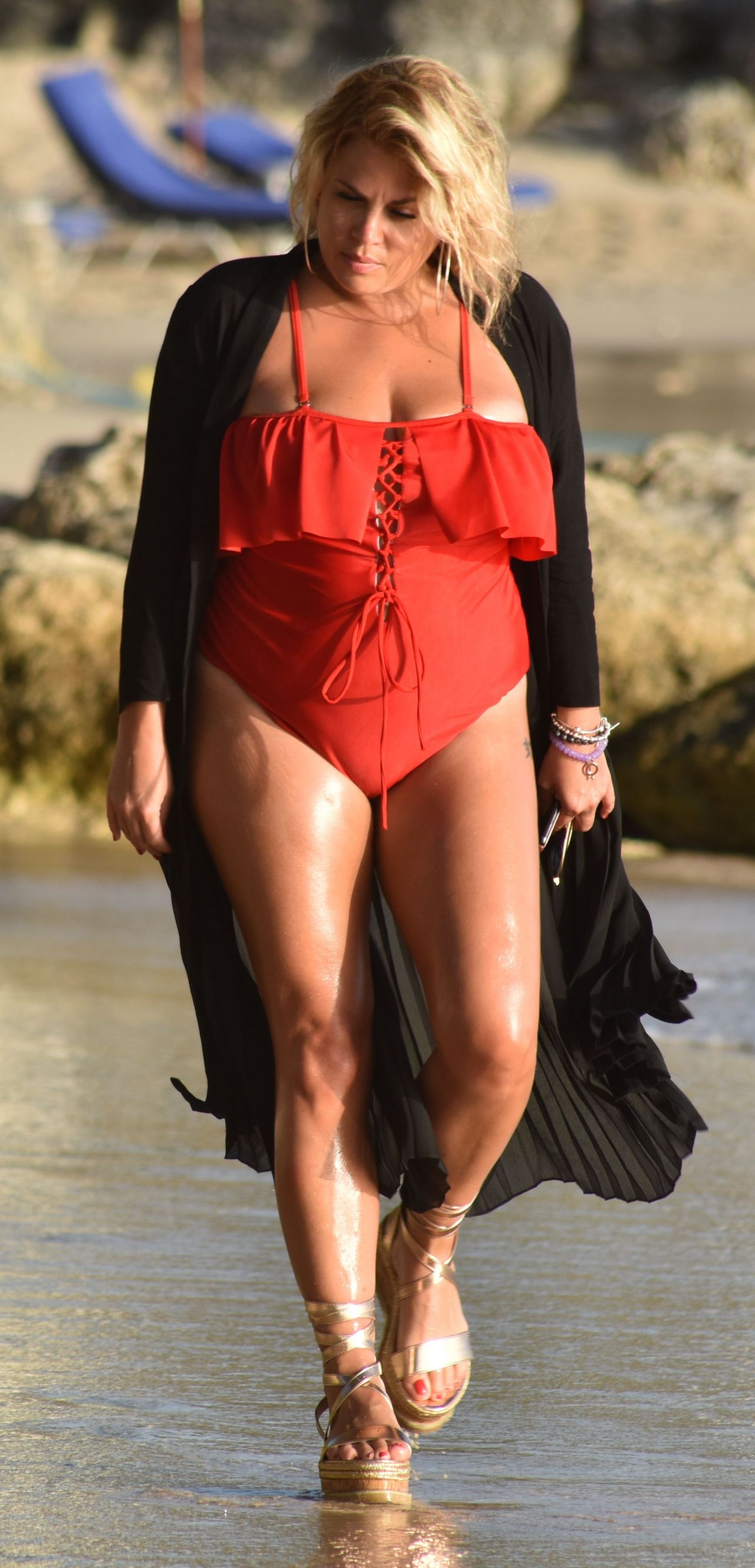Nadia Essex In A Red Swimsuit Enjoying The Sun Sand Amp Sea