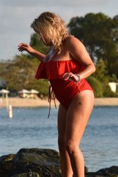 Nadia Essex in a Red Swimsuit Enjoying the Sun, Sand & Sea in Barbados