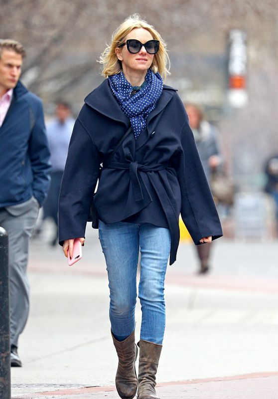 Naomi Watts in a Navy Coat and Blue Denim Jeans - NYC 03/29/2018