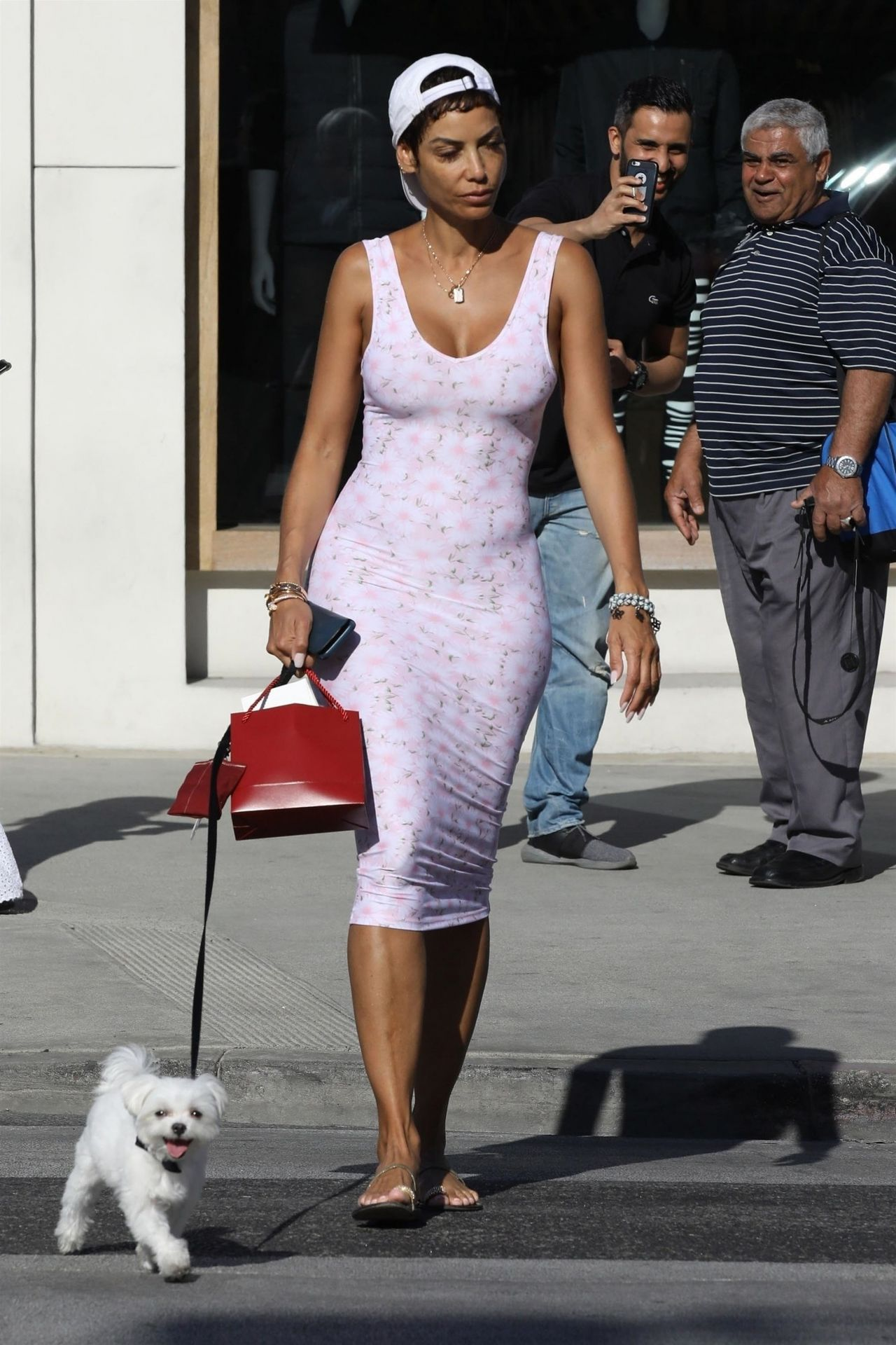 Nicole Murphy In A Form Fitting Pink Dress Shopping In