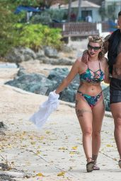Olivia Buckland in a Patterned Bikini on the Beach in Barbados