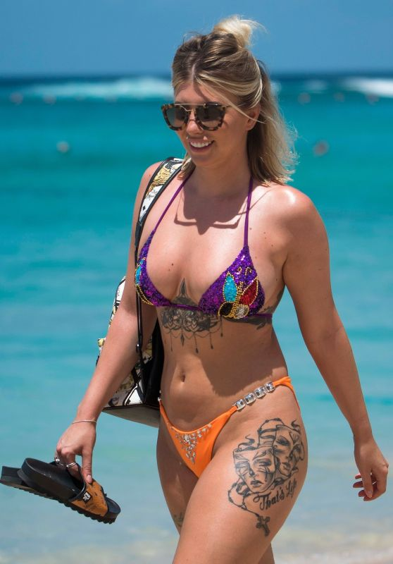 Olivia Buckland in Bikini on the Beach in Barbados