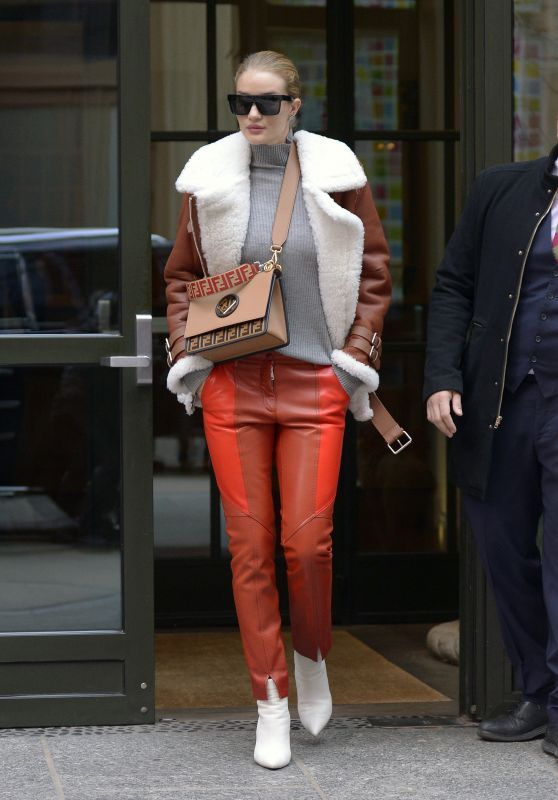 Rosie Huntington-Whiteley in an Orange Leather Pants and Leather Shearling Fur Jacket  - Crosby Hotel in NYC