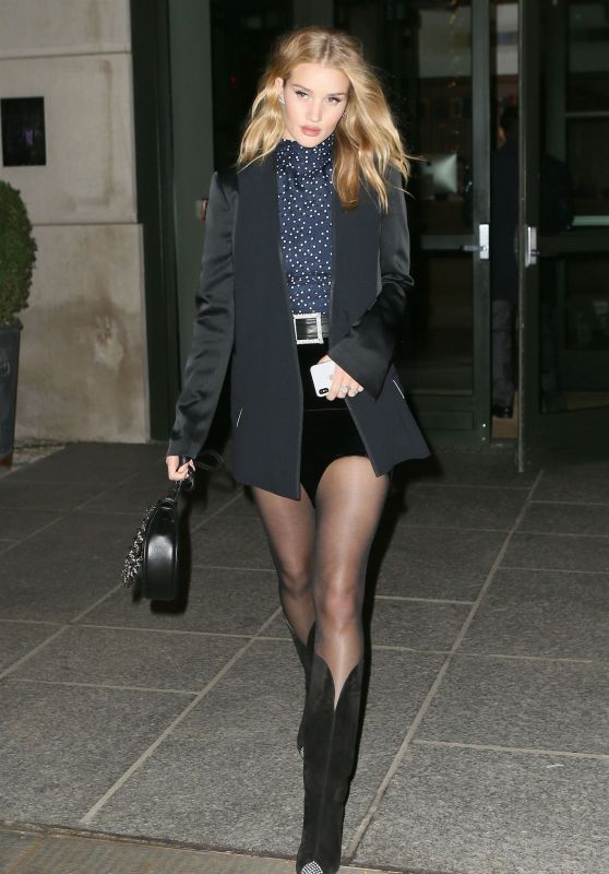 Rosie Huntington-Whiteley Wearing Cowboy Boots and a Mini Skirt in NYC