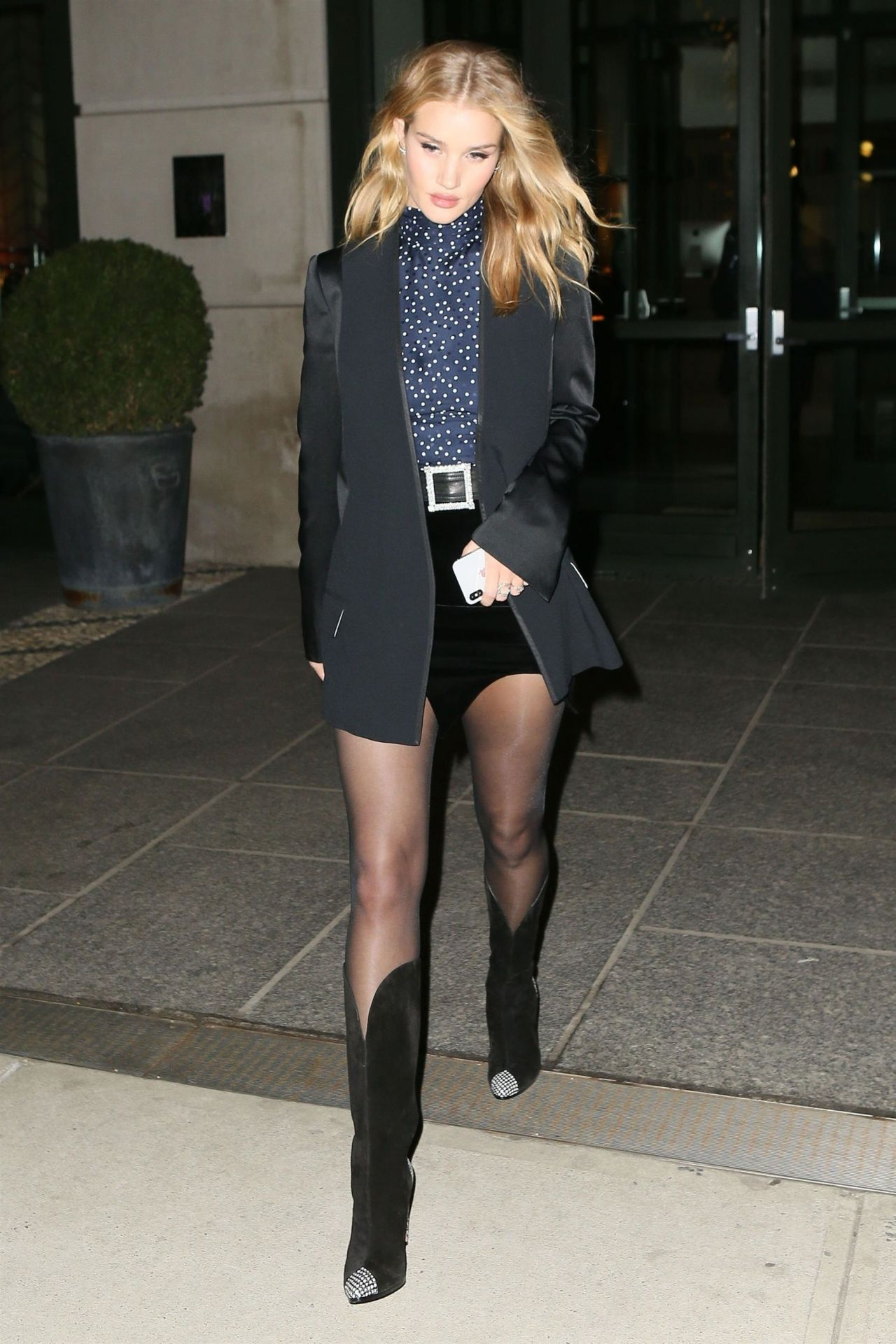 Rosie Huntington Whiteley Wearing Cowboy Boots And A Mini