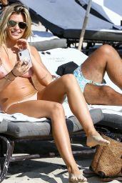Samantha Hoopes in a Pink Bikini on the Beach in Miami 03/18/2018