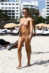 Samantha Hoopes in a Pink Bikini on the Beach in Miami 03/18/2018