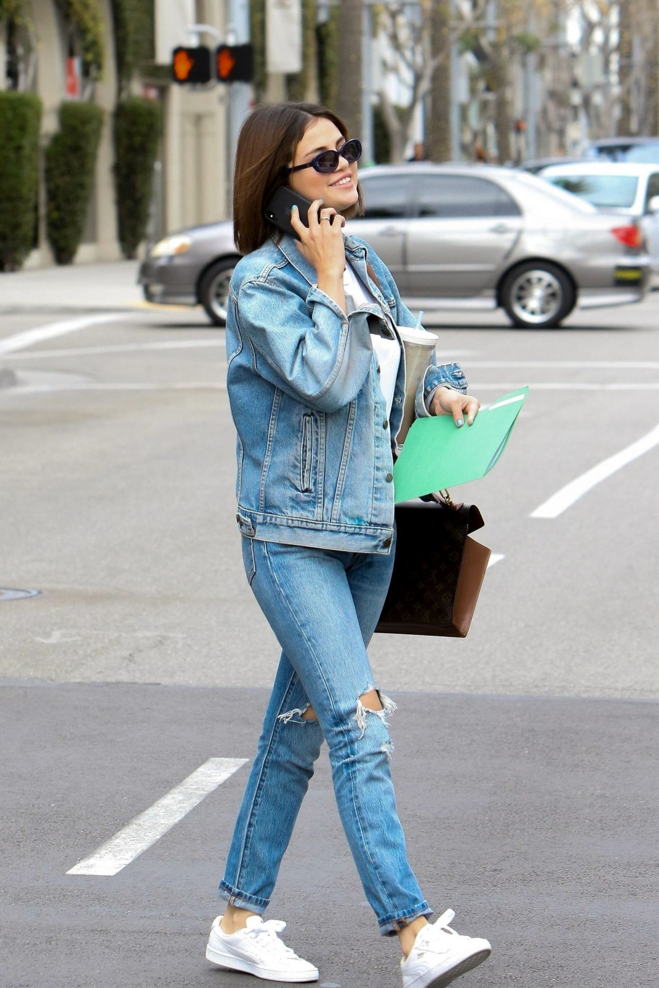 Selena Gomez Denim On Denim Look Beverly Hills 03 17 2018