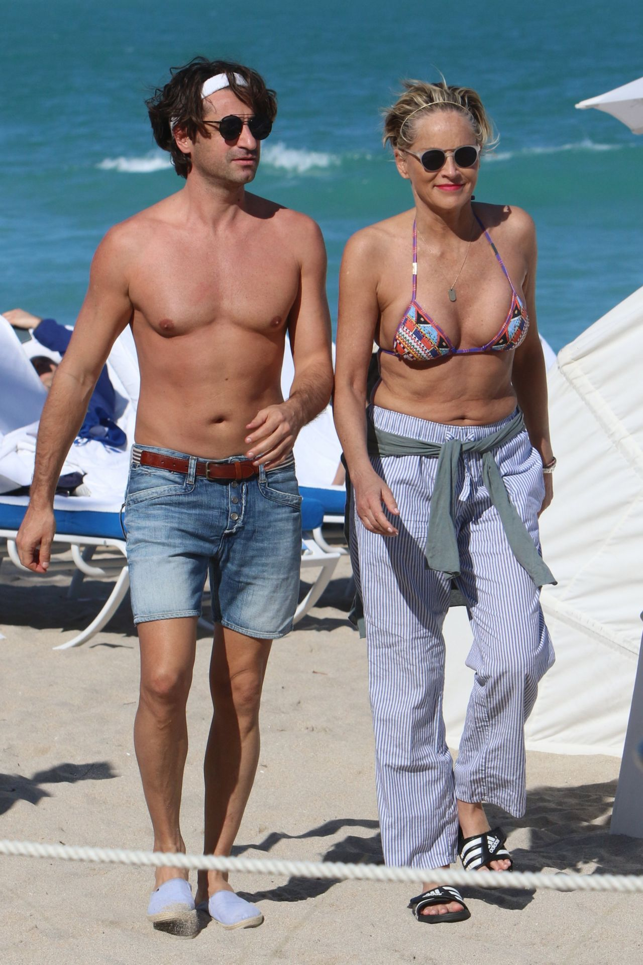 Sharon Stone In Bikini Top At The Beach In Miami With Her -2540