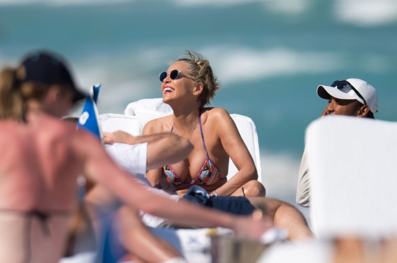 Sharon Stone in Bikini Top with her boyfriend at the beach in Miami Pic 9 of 35
