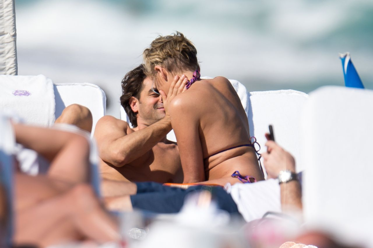 Sharon Stone in Bikini Top with her boyfriend at the beach in Miami Pic 1 of 35
