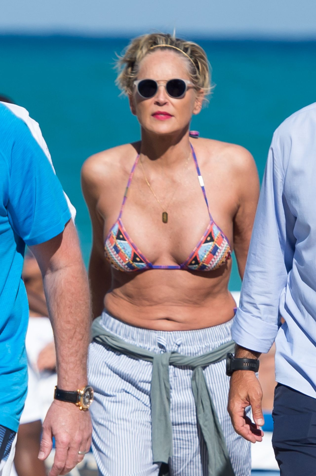Sharon Stone in Bikini Top with her boyfriend at the beach in Miami Pic 23 of 35