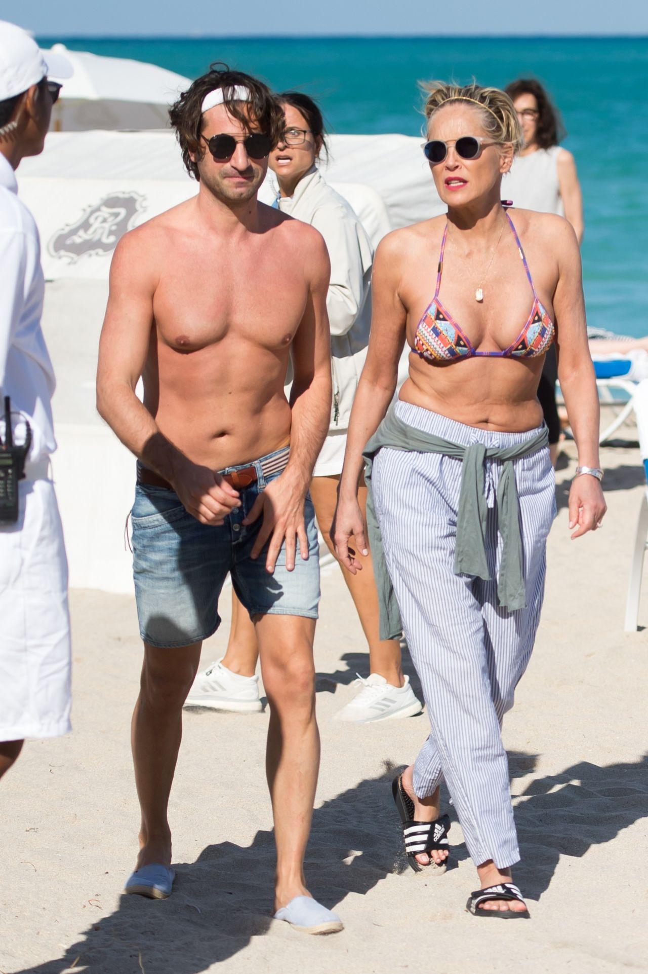Sharon Stone In Bikini Top At The Beach In Miami With Her