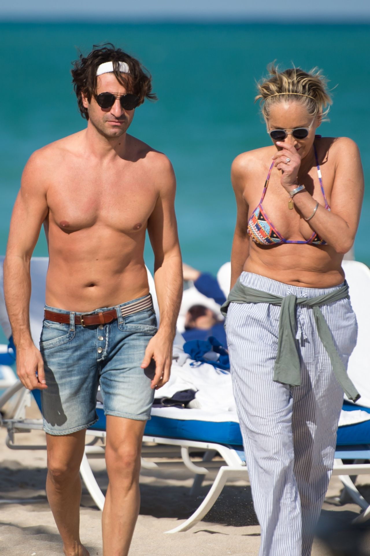 Sharon Stone in Bikini Top with her boyfriend at the beach in Miami Pic 2 of 35