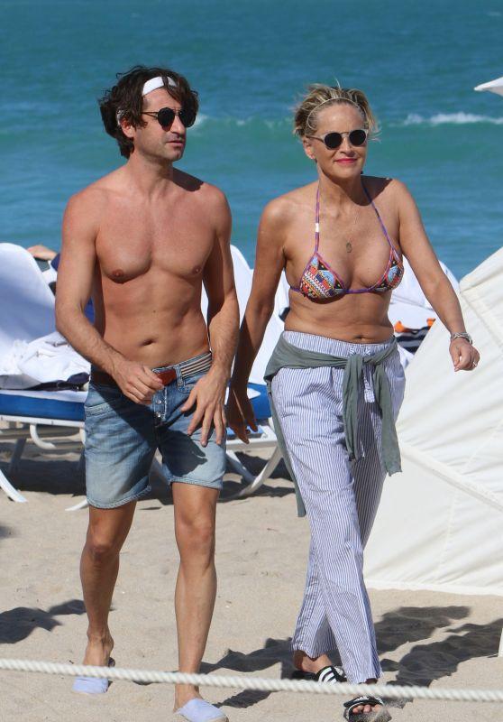 Sharon Stone in Bikini Top at the Beach in Miami With Her Boyfriend 03/09/2018