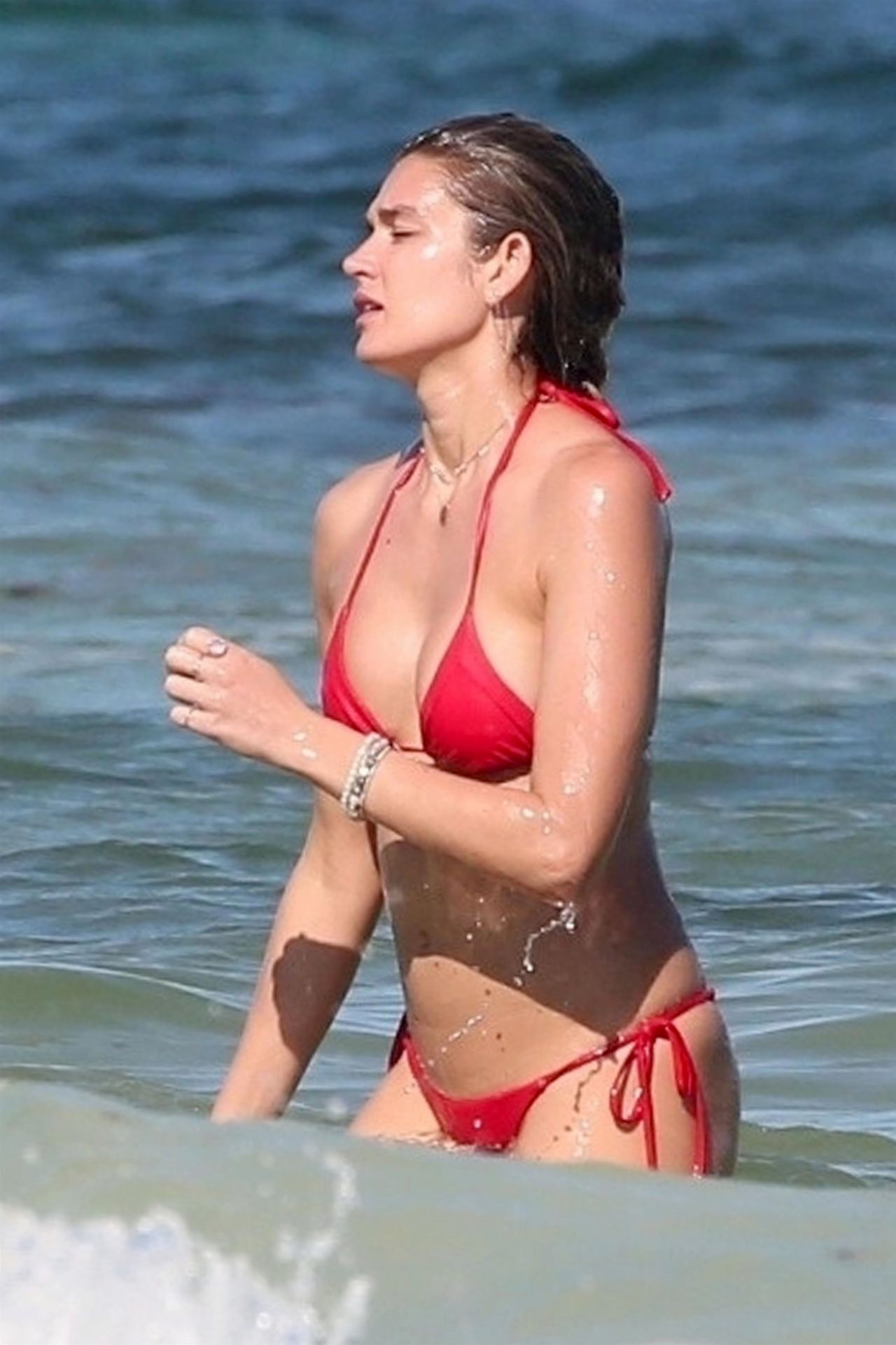 Shayna Taylor in Red Bikini on the beach in Tulum Pic 1 of 35
