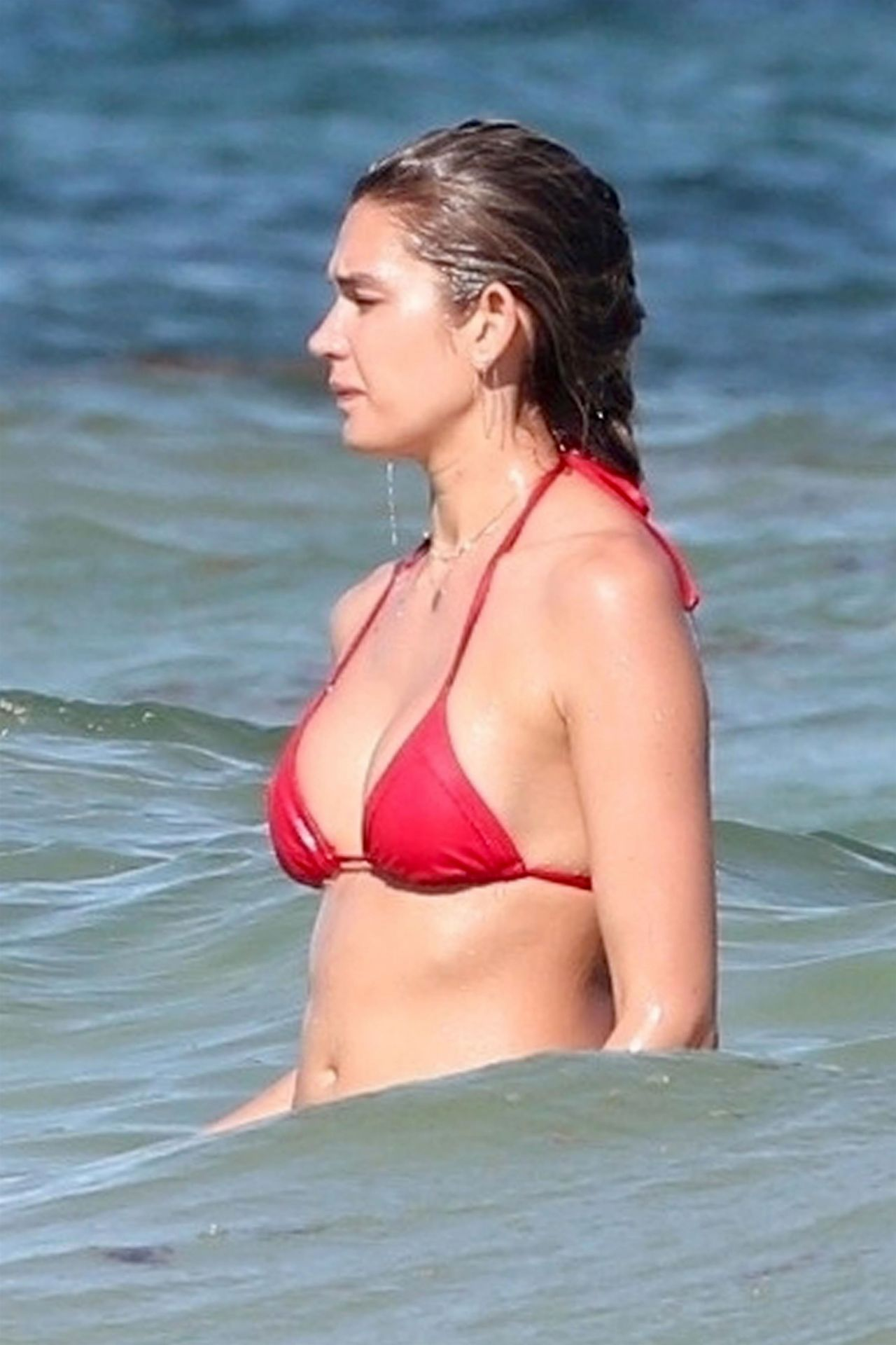 Shayna Taylor in Red Bikini on the beach in Tulum Pic 9 of 35