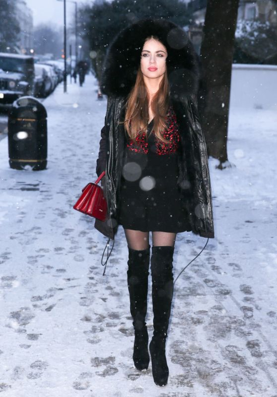 Xenia Tchoumitcheva Wearing Knee High Boots - Notting Hill, London 02/28/2018