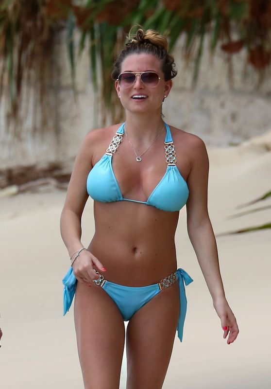 Zara Holland in Bikini - Enjoys a Beach Stroll With Her Mother in Barbados
