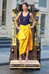 Adriana Lima in a Yellow Skirt with a Blue Singlet Top - Photoshoot in NYC 04/20/2018