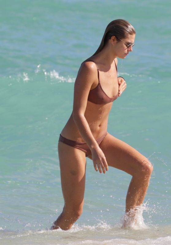 Annie McGinty in a Brown Bikini in the Ocean in Miami Beach 04/04/2018