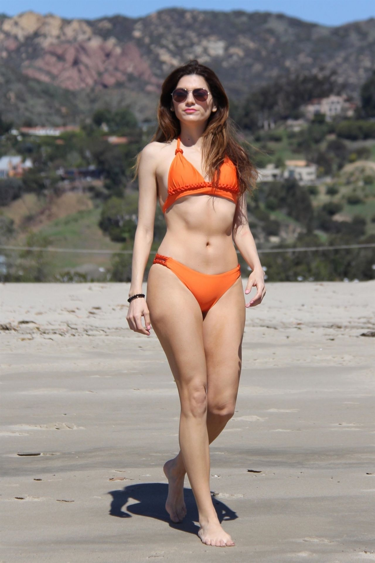 Blanca Blanco in an Orange Bikini – Walk on the Beach in Malibu 04/03/2018