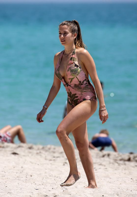 Cathy Hummels in Swimsuit on the Beach in Miami 04/20/2018