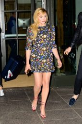 Chloe Moretz Leggy in Mini Dress - NYC 04/22/2018