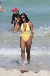 Claudia Jordan in a Yellow Swimsuit - Celebrates Her 45th Birthday in Miami Beach 04/13/2018