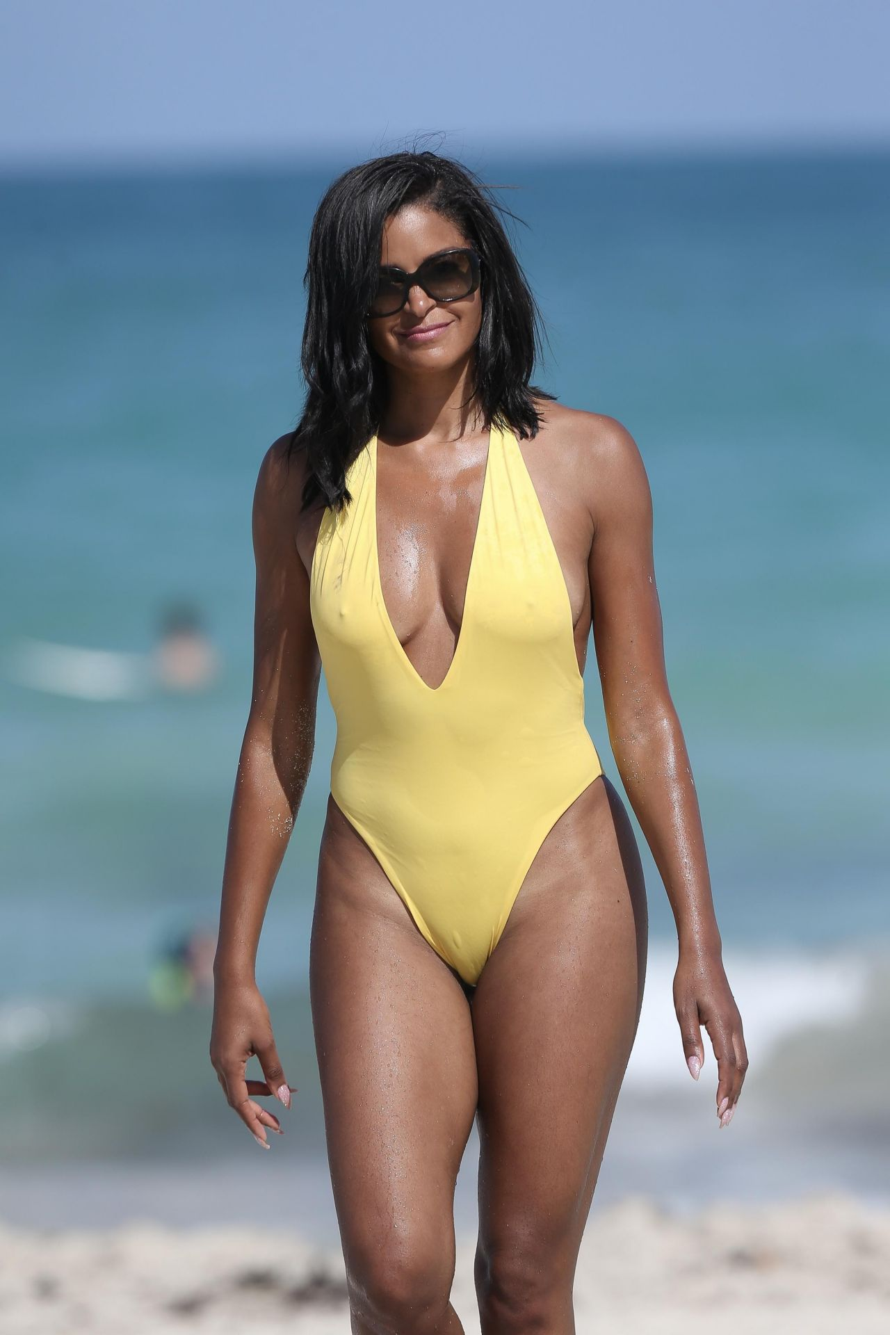 Claudia Jordan In A Yellow Swimsuit Celebrates Her 45th