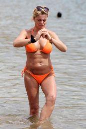 Danniella Westbrook in an Orange Bikini in Marbella