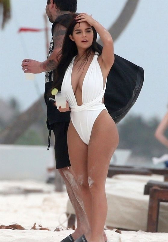 Demi Rose in a White Swimsuit on the Beach in Tulum 04/24/2018