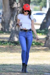 Eiza Gonzalez in Skintight Jeans and Cropped White T-Shirt - Studio City 04/25/2018