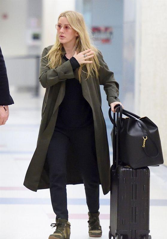 Ellie Goulding and Her Boyfriend Caspar Jopling at JFK Airport in New York City 04/01/2018