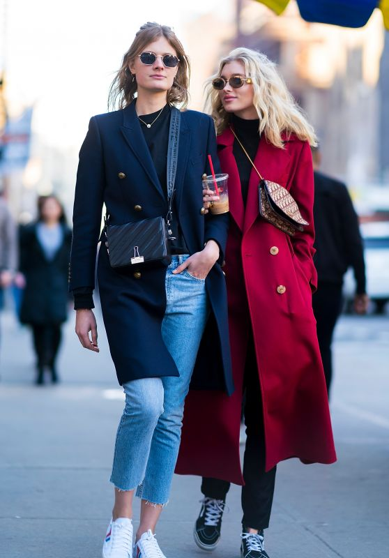 Elsa Hosk and Constance Jablonski Street Fashion - NoHo, NYC 03/31/2018