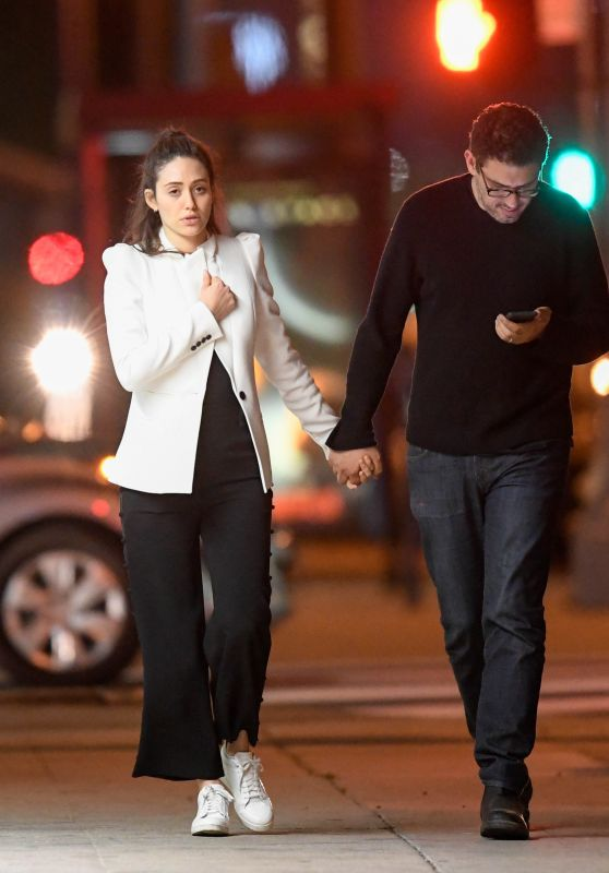 Emmy Rossum - Romantic Late Night Stroll With Her Husband in LA 04/19/2018