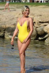Frankie Essex in a Yellow Swimsuit in Turkey 04/26/2018