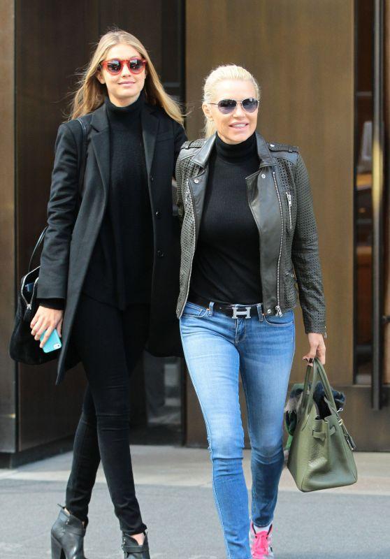 Gigi Hadid and Yolanda Hadid - Leaving the Trump Soho Hotel in NYC 04/04/2018