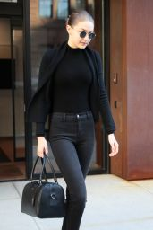 Gigi Hadid in All Black in NYC 04/11/2018