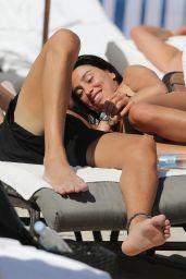 Giorgia Gabriele in a Black Bikini on the Beach in Miami 03/31/2018