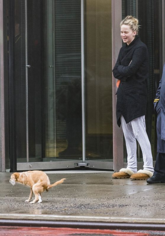 Jennifer Lawrence and Her Dog Pippi - New York 04/17/2018