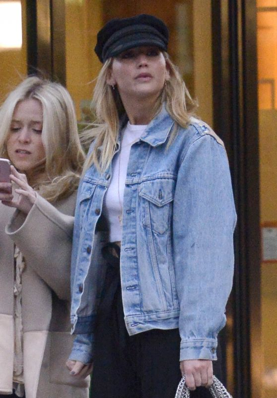 Jennifer Lawrence in Denim Jacket, Russian Cap and Black Pants - NYC 04/01/2018