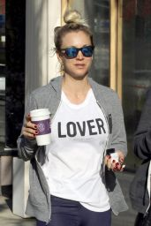 "Kaley Cuoco in a White ""Lover"" T-Shirt - Studio City 04/11/2018"