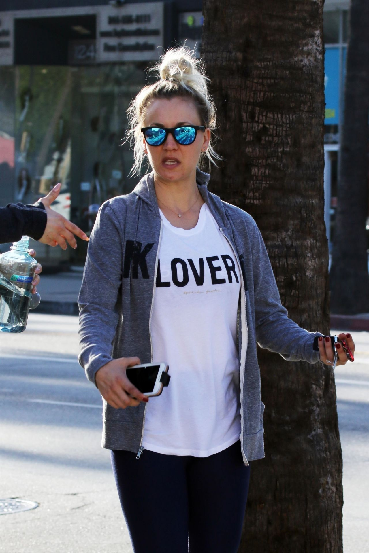Kaley Cuoco In A White Quot Lover Quot T Shirt Studio City 04 11